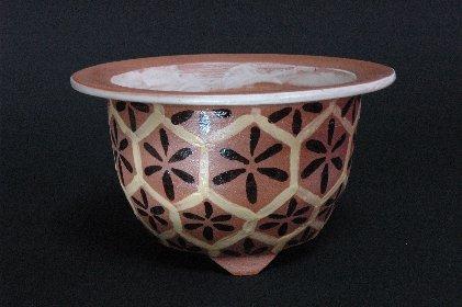 褐色のオモト鉢