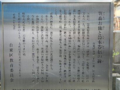 笠森お仙と鈴木晴信の碑