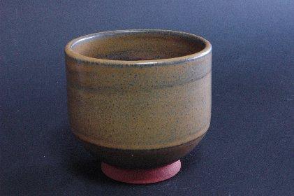 唐津黒半筒植木鉢