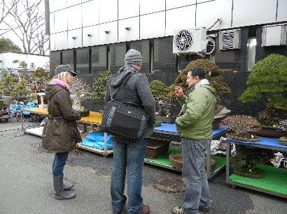外国人が外国人に盆栽を売る図