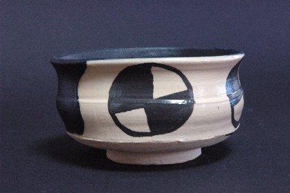 黒織部茶碗風・植木鉢C 正面