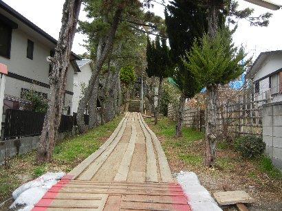 茂呂神社・工事中の参道