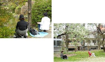 植物園で絵を書く人