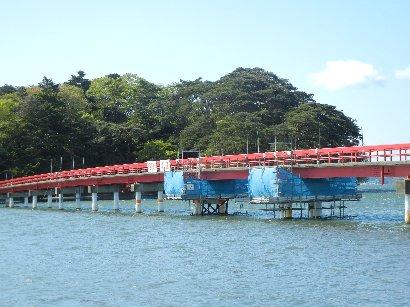 修理中の福浦橋