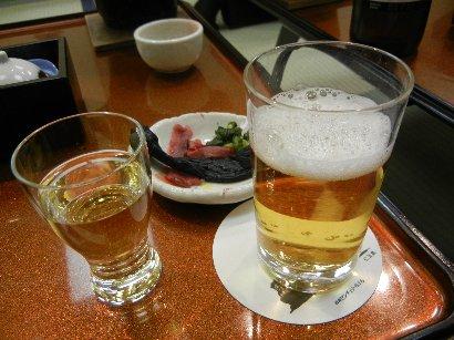 梅酒と乾杯のビール