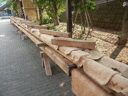 掘り出され、洗われ、乾燥される柱