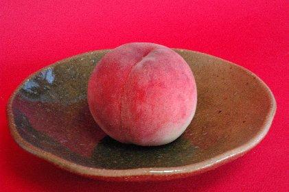 白石の桃・あかつきonG志野皿