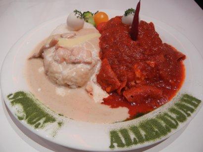 トマトソースライスとカレーライス
