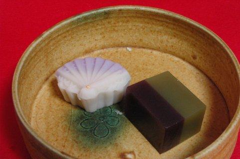 上生菓子in黄瀬戸鉢