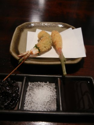 海老の紫蘇巻き、谷中生姜の肉巻き