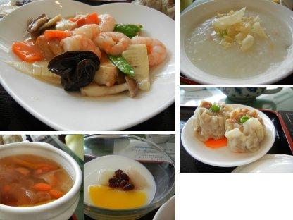 ランチ(主菜アップ・前菜・スープ、香港風お粥、デザート)