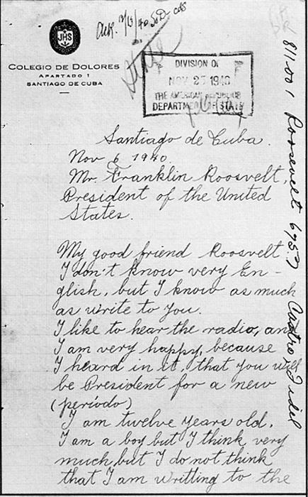 Carta del Fidel a FDR a