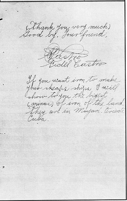 Carta del Fidel a FDR c