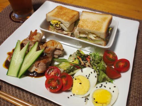 晩酌☆サンドイッチ&鶏もも肉ソテープレート