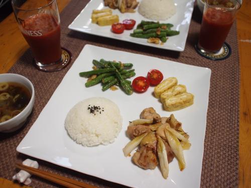 鶏肉と長ねぎの炒め物&いんげんのチーズソテープレート
