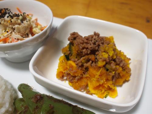 晩酌☆甘塩鮭ソテー&かぼちゃのそぼろかけ&白菜とささ身のサラダプレート