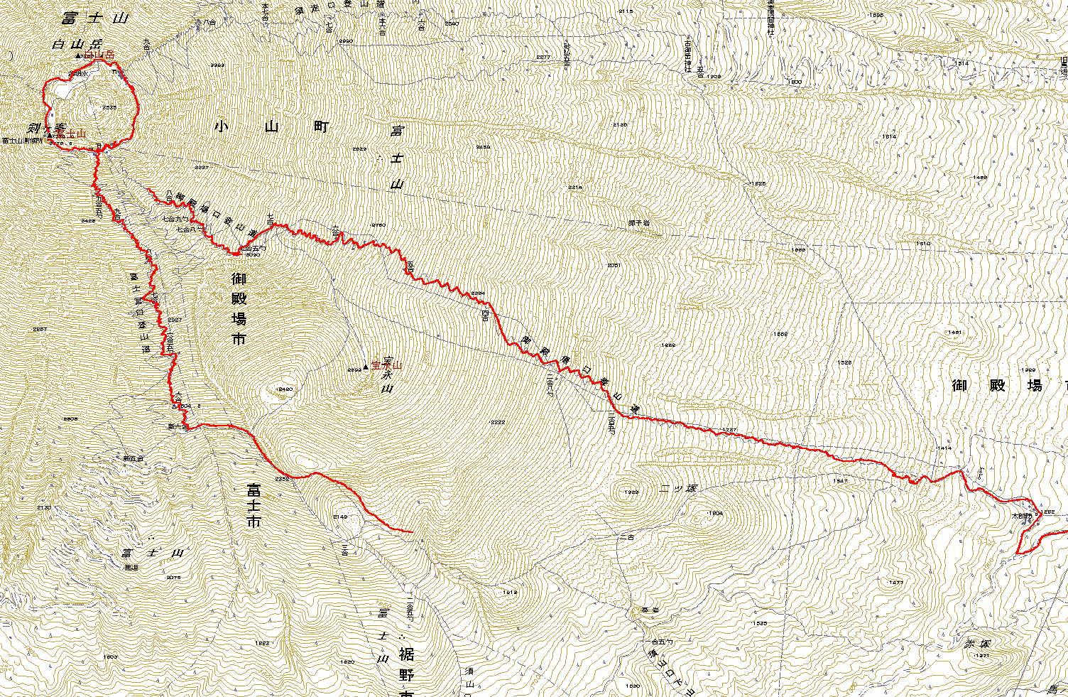 2011年富士登山主要部GPSログ
