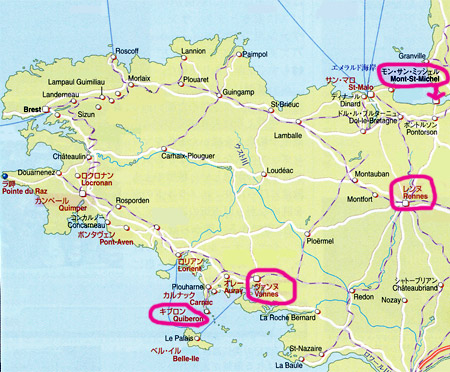 ブルターニュ地方の地図