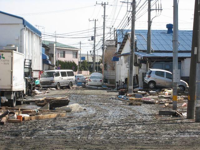 津波後の町