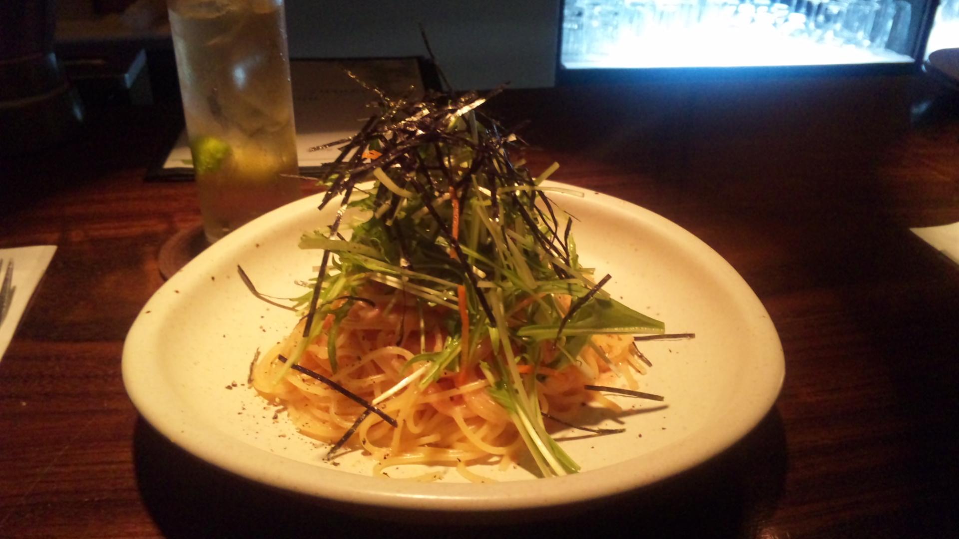 タラコと水菜の和風スパ