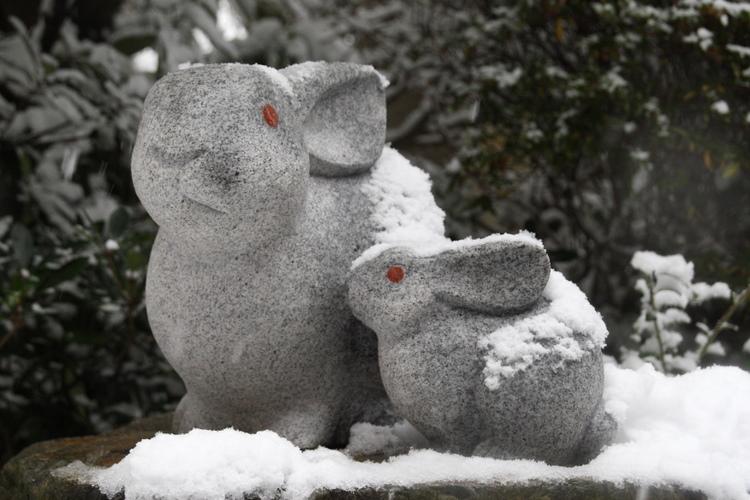 京都岡崎神社 狛兎 親子兎