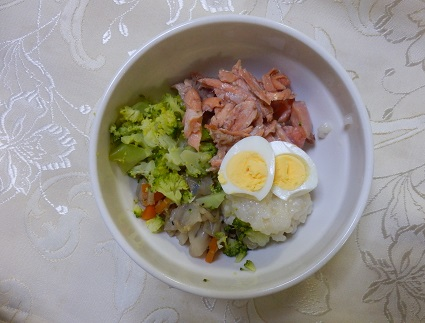 秋鮭とうずら卵のごはん