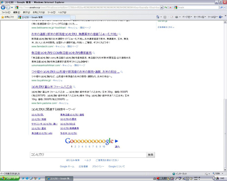 Google検索「コシヒカリ」を見る!