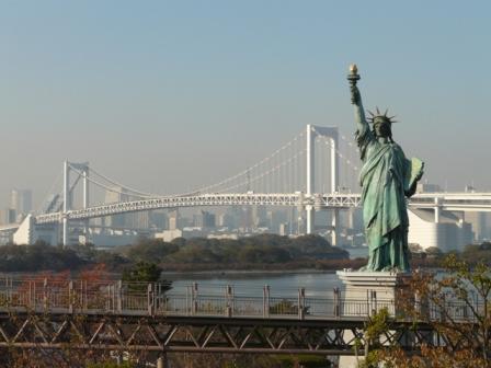 お台場海浜公園 レインボーブリッジ & 自由の女神像 1