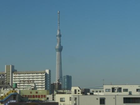 成田エクスプレス 車中にて スカイツリー 2