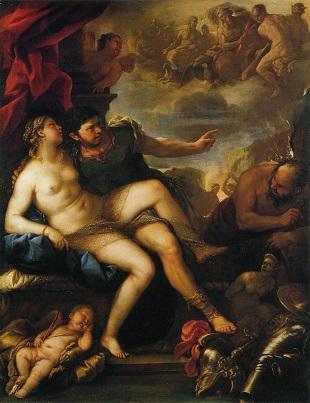 giordano,ウルカヌスに捕らえられたマルスとヴィーナス,1670-1675年頃