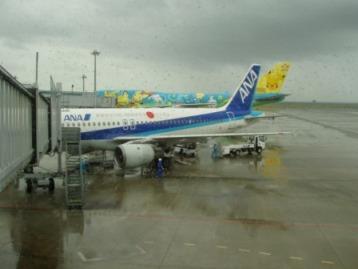 台風の日の飛行機