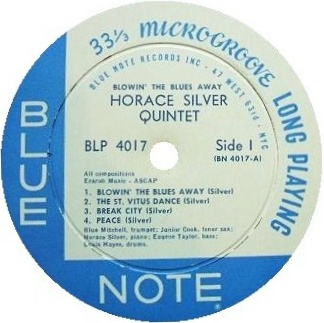 Horace Silver Blowin The Blues Away Blue Note BLP 4017 Label