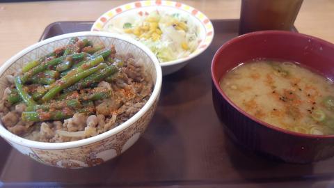 にんにく牛丼豚汁サラダ
