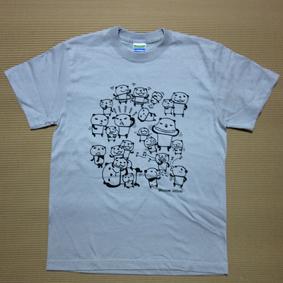 ブログTシャツ-パンダの日常ライトグレー