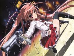 43moe 177259 bra gun hidan_no_aria iwakura_kazunori kanzaki_h_aria seifuku thighhighs wet_clothes