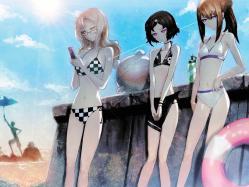 43moe 151302 bikini cleavage huke kiryu_moeka makise_kurisu male steins;gate swimsuits trap urushibara_luka