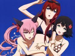 43moe 177482 animal_ears bikini faris_nyanyan makise_kurisu sakai_kyuuta shiina_mayuri steins;gate swimsuits