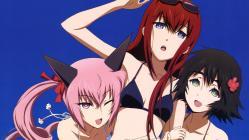 169moe 177482 animal_ears bikini faris_nyanyan makise_kurisu sakai_kyuuta shiina_mayuri steins;gate swimsuits