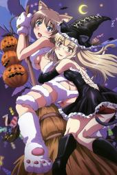 moe 196654 animal_ears halloween lynette_bishop megane pantsu perrine-h_clostermann strike_witches tail underboob witch