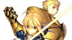 yande.re 211896 armor fate_stay_night fate_zero gilgamesh saber sword takeuchi_takashi type-moon