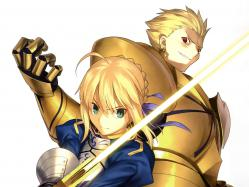yande.re 211896 armor fate_stay_night fate_zero gilgamesh saber sword takeuchi_takashi type-moona