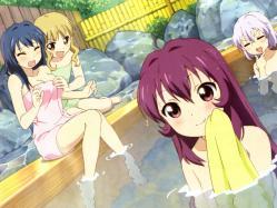 yande.re 223225 furutani_himawari ikeda_chitose ikeda_hiroaki onsen oomuro_sakurako sugiura_ayano towel yuru_yuri
