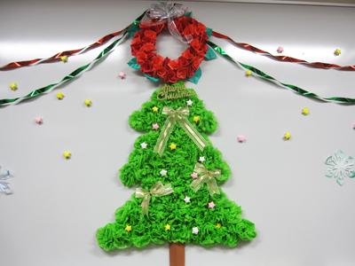 今年も図書室をクリスマスデコ ... : 折り紙クリスマスツリー作り方 : 折り紙