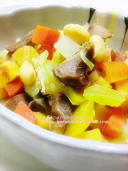 砂肝入りコロコロ野菜のスープ煮♪