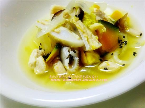 ヤゲン軟骨と野菜のサフランスープ♪