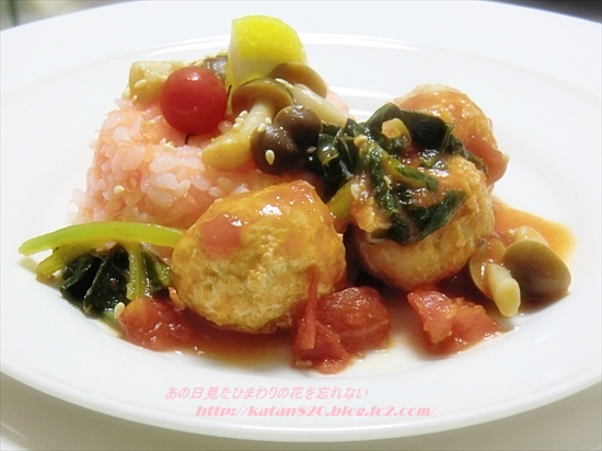 ミートボールのトマト煮&キャロットライス♪
