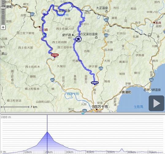 20121021 四万十川ウルトラ100キロ ROUTE