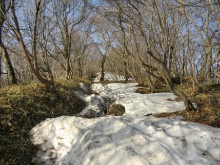 残雪の上を歩いて
