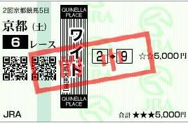 20110212京都6Rワイド的中馬券