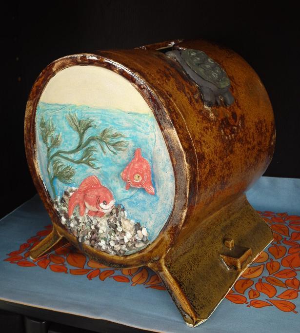 江戸風金魚鉢 花器 (2)